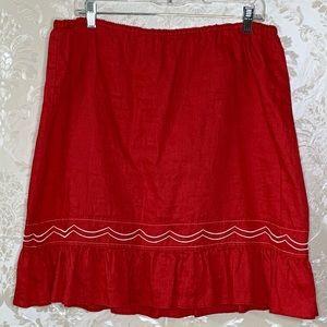 Anthropologie Skirts - Anthropologie Fei Linen Embroidered Scallop Skirt